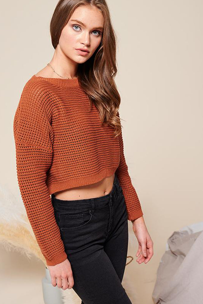 A woman wearing a brick cropped fishnet knitted sweater top.