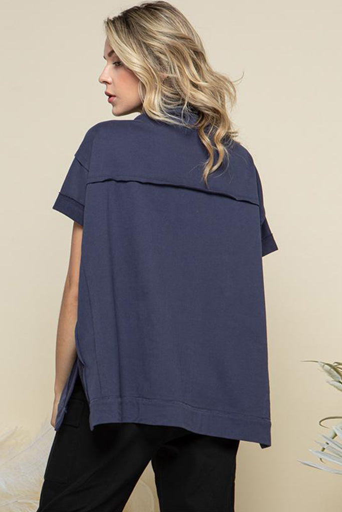 Back side of a navy cowl neck with adjustable drawstring lounge top.
