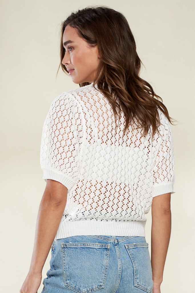 Back side of an ivory honeycomb see-through knit top.