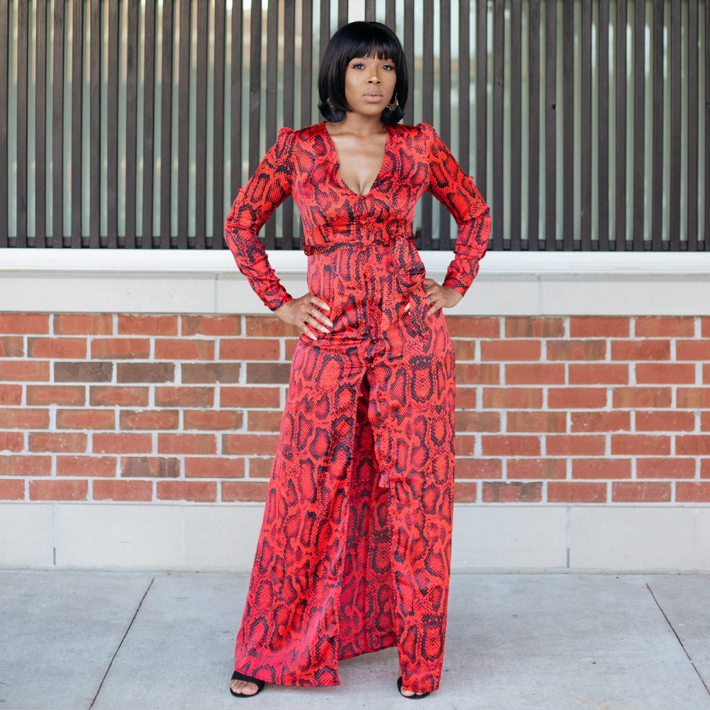 Red Snake Print Maxi Dress