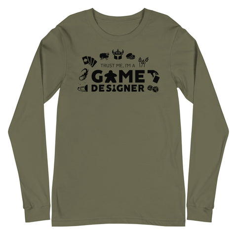 Trust Me, I'm A Game Designer Long Sleeve (with icons)
