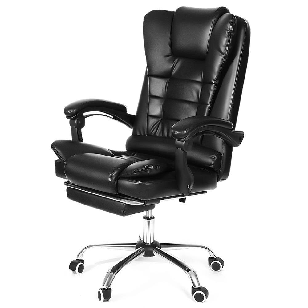 Reclining Office Chair Adjustable Rotating Lift PU Leather Computer Gaming Chair with Armchair and Footrest - bestgamingandoffice