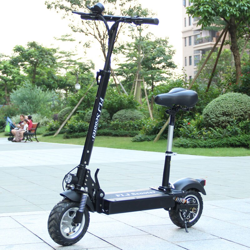 Adult Electric Scooter with seat 48V 1200W kick scooter foldable with big wheels - bestgamingandoffice