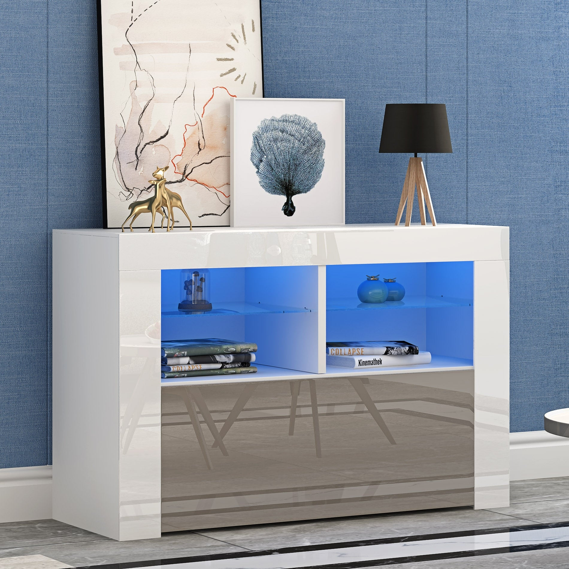 Panana Modern Living Room Furniture Cabinets High Gloss Doors high Stand Sideboard - bestgamingandoffice