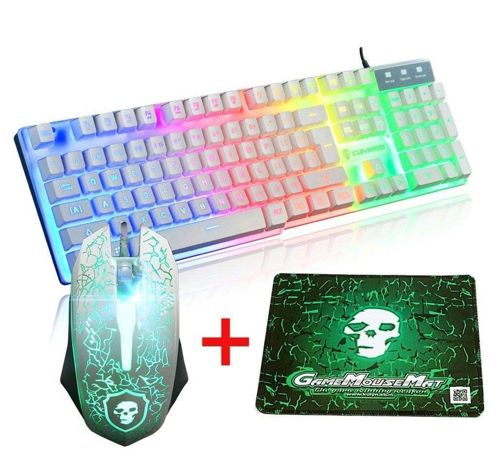 LED Rainbow Backlight USB Ergonomic Wired Gaming Keyboard + 2400DPI Mouse + Mouse Pad Set Kit