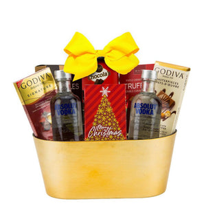 Gift basket filled with Vodka and chocolate