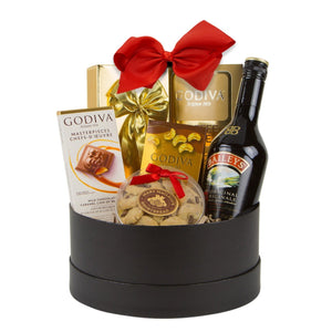gift basket with chocolate and baileys