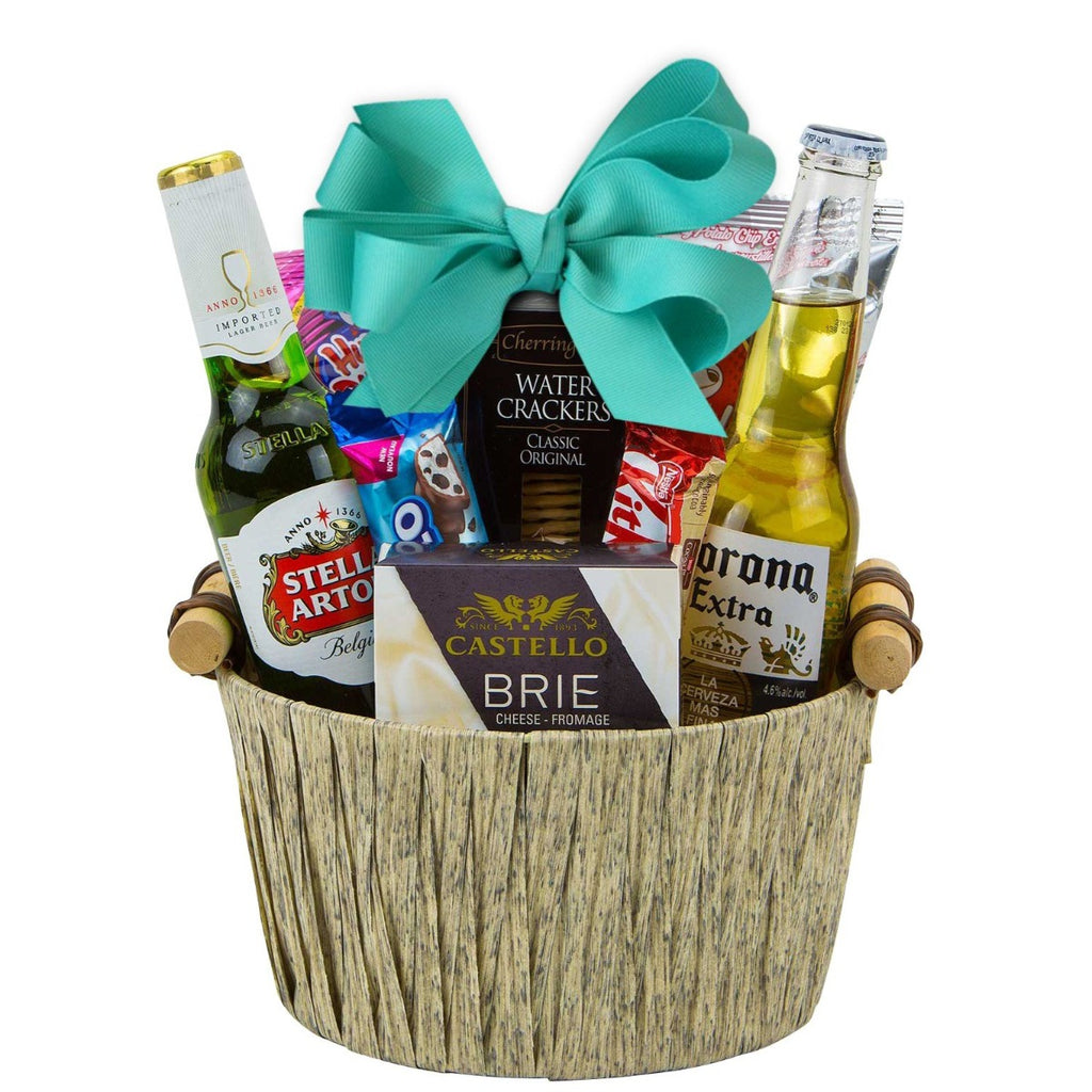 gift basket with assorted beers