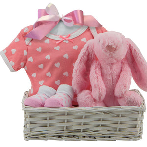 new pink baby gift basket