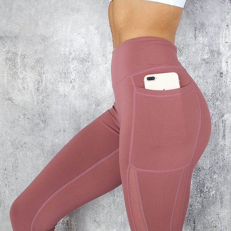 Fitness Women Leggings New Casual Sexy Pocket High Waist Mesh Stitching Leggings Polyester Exercise Slim Leggings