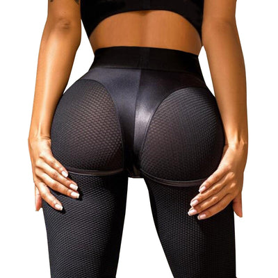 Sexy Leather Short Leggings Women Mesh Workout Fitness Legging Push Up Short Leggings Patchwork Black Jeggings