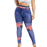 Women High Waist long Pants Plus Size 3D Jean Print American Flag Leggings Casual Pant Legging Athletic