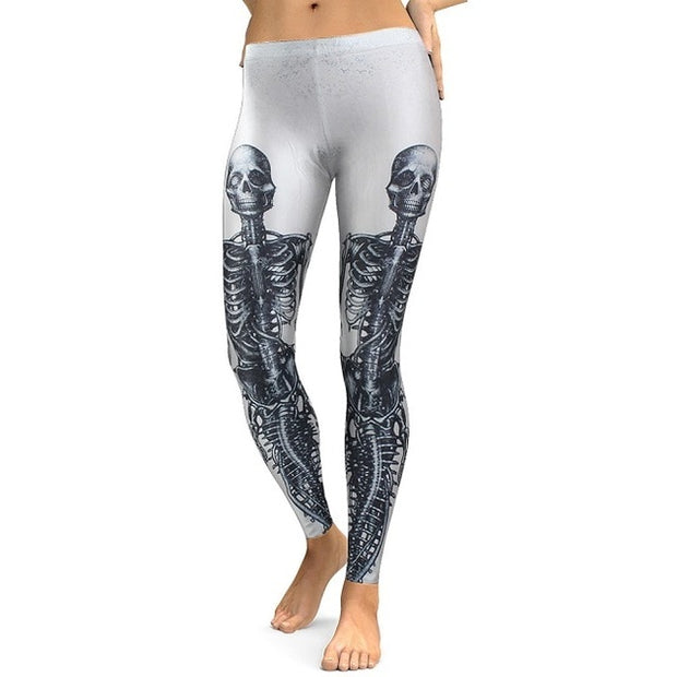 Women Skull Head 3D Printed Pants Leggings