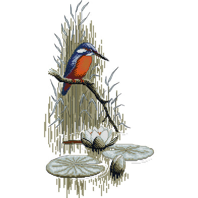 Kingfisher by the river - Cross Stitch - 27x43cm
