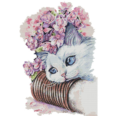 Cat and Flower  - Cross Stitch - 34x47cm