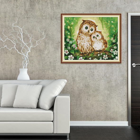 Two owls - Cross Stitch - 47x39cm