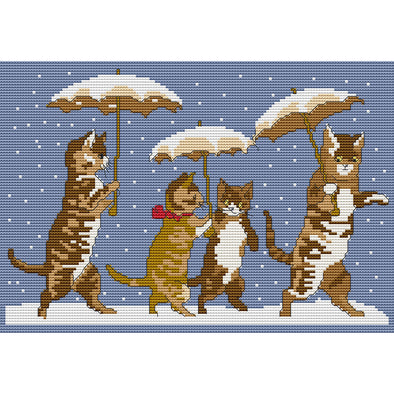Kitten with umbrella - Cross Stitch - 34x25cm