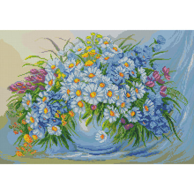 Daisy Flowers - Cross Stitch - 48*35cm