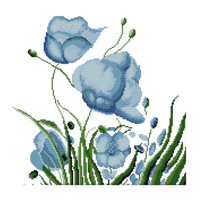 Blue Flower - Cross Stitch - 36*35cm