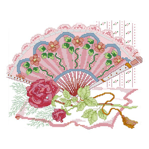Rose fan - Cross Stitch - 35*30cm