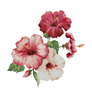 Hibiscus Flowers - Cross Stitch - 43x43cm