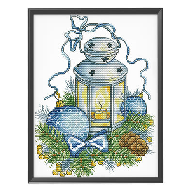 Blue christmas lights - 14CT Stamped Cross Stitch - 17*26cm
