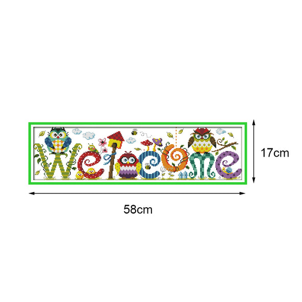 Owl welcome sign - Cross Stitch - 58*17cm