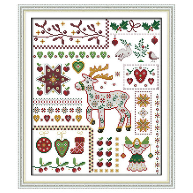 Christmas elk and dolls - Cross Stitch - 40*34cm