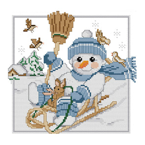 Christmas snowman - 14CT Stamped Cross Stitch - 26*23cm