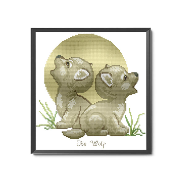Howling wolf - 14CT Stamped Cross Stitch - 27*28cm