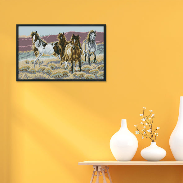 Four horses - 14CT Stamped Cross Stitch - 60*40cm