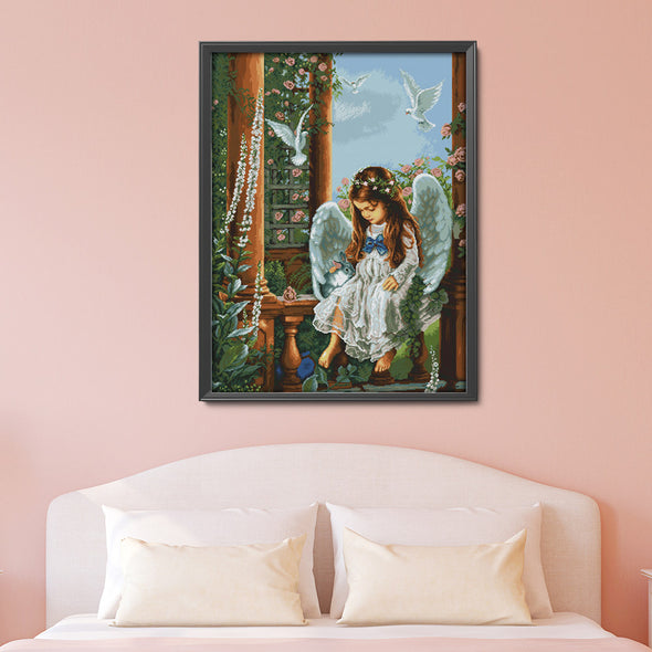 Love angel - 14CT Stamped Cross Stitch - 75*62cm