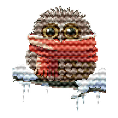 Owl - 14CT Stamped Cross Stitch - 19*22cm