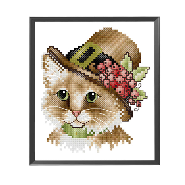 Noble cat - 14CT Stamped Cross Stitch - 16*17cm