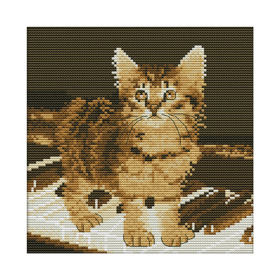 Cat on piano - 14CT Stamped Cross Stitch - 22*22cm