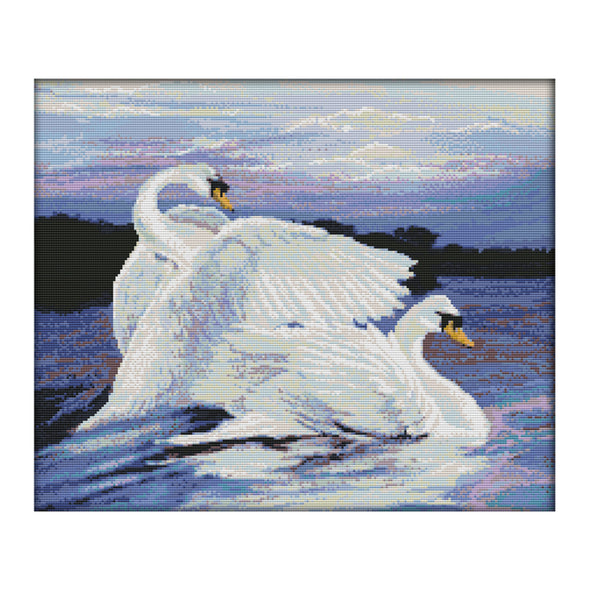 Two swans - 14CT Stamped Cross Stitch - 49*42cm