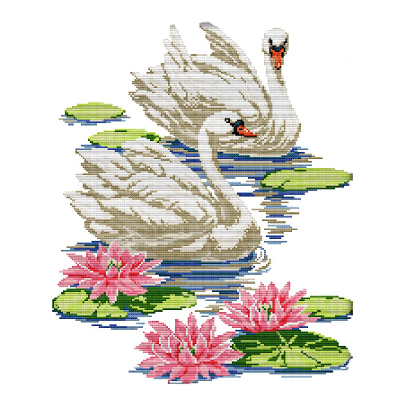 Swan couple - 14CT Stamped Cross Stitch - 38*45cm