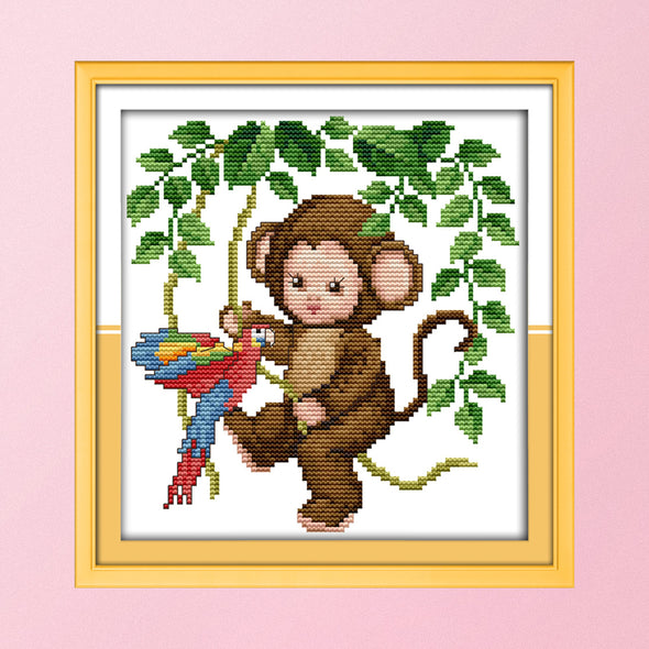 Monkey baby - 14CT Stamped Cross Stitch - 21*22cm