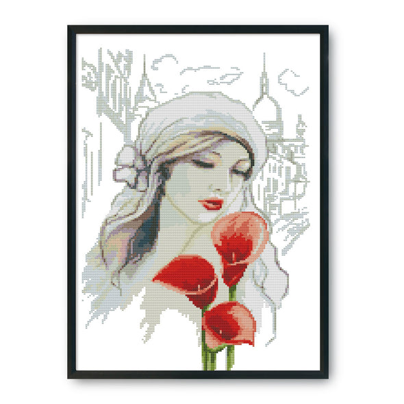 Beauty and calla lily - 14CT Stamped Cross Stitch - 45*31cm