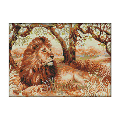 African Lion - 14CT Stamped Cross Stitch - 51x36cm