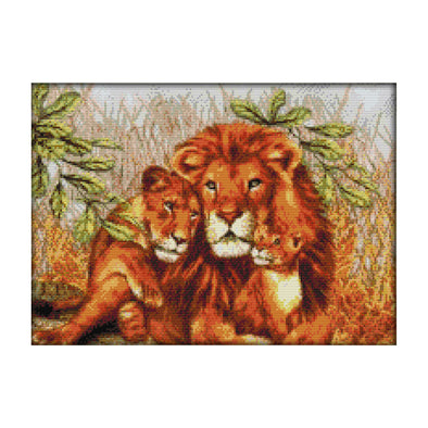 The Lion Family - 14CT Stamped Cross Stitch - 44x33cm