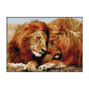 The Lion Family - 14CT Stamped Cross Stitch - 44x35cm