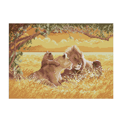 The Lion Family - 14CT Stamped Cross Stitch - 38x29cm