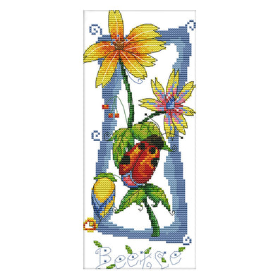 Flower language - 14CT Stamped Cross Stitch - 15*30cm