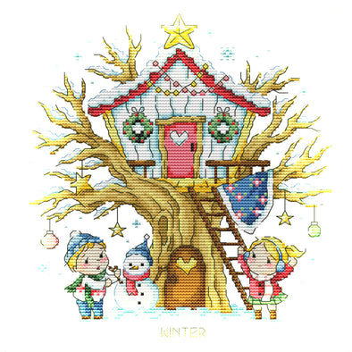 Tree House - 14CT Stamped Cross Stitch - 28x27cm