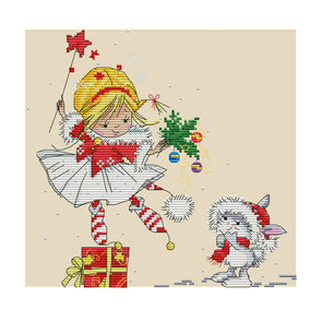 Christmas Elf - 14CT Stamped Cross Stitch - 28x27cm