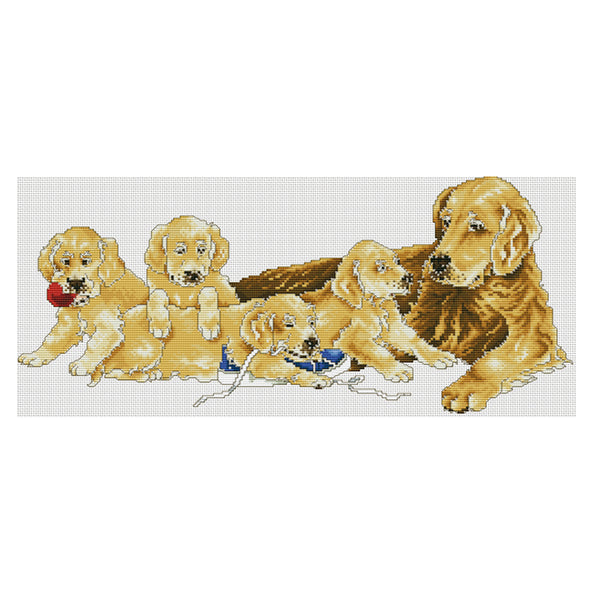 Lucky dog - 11CT Stamped Cross Stitch - 66*33cm