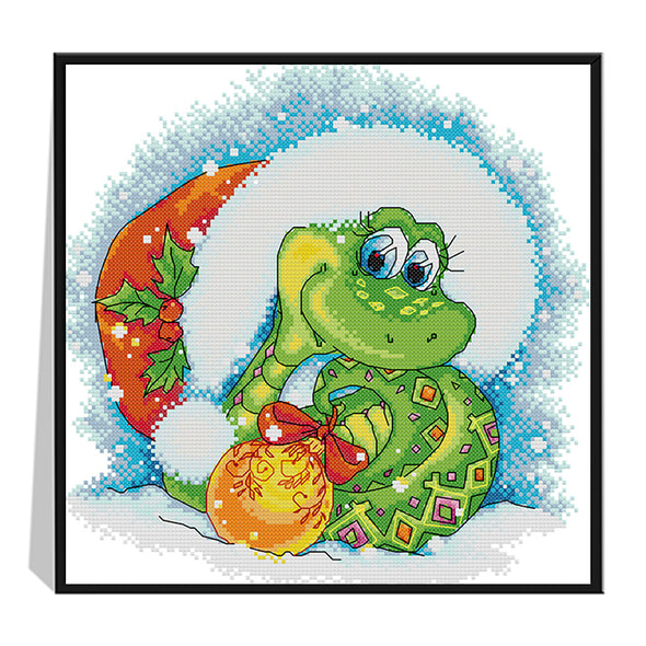 Christmas snake - 14CT Stamped Cross Stitch - 33*33cm