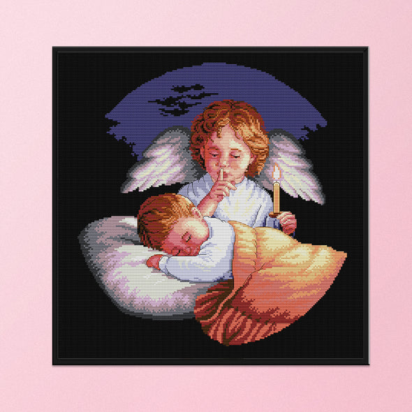 Angel is guarding - 14CT Stamped Cross Stitch - 44*44cm