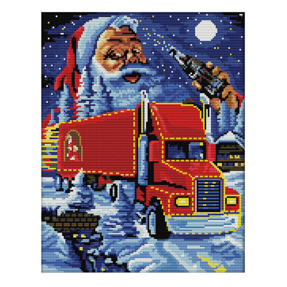 Christmas truck - 14CT Stamped Cross Stitch - 31*37cm